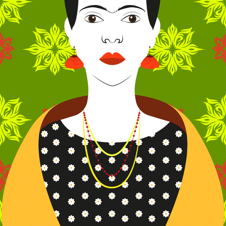 necklaces: Frida Kahlo Vector illustration Portrait of Frida Kahlo in various necklaces and a scarf on background with floral pattern Illustration