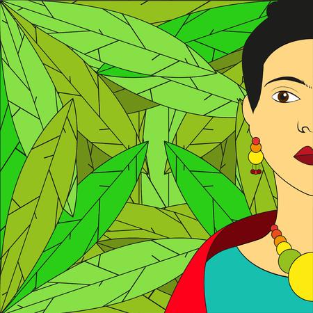 fashion story: Frida Kahlo illustration Portrait of Frida Kahlo on background with green leaves Illustration