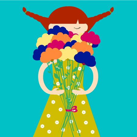 redhead girl: Girl with bouquet of flowers Redhead girl in dress with flower print holding a bouquet of flowers in hands Blue background Flat design