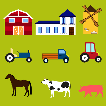 farm equipment: Farm equipment Equipment, machinery, buildings and animals on the farm: barn, mill, house, tractor truck car horse cow pig Illustration