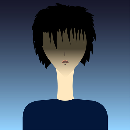 angry boy: Anime boy Vector illustration Anime angry boy brunette on a dark background