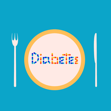 Diabetes illustration The word Diabetes made of capsules and tablets on plate Flat design Illustration
