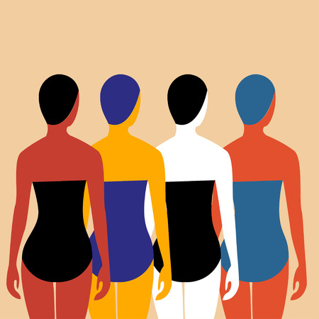 bathing suits: Swimmers illustration Four girls swimmers in bathing suits and swimming caps. The view from the back