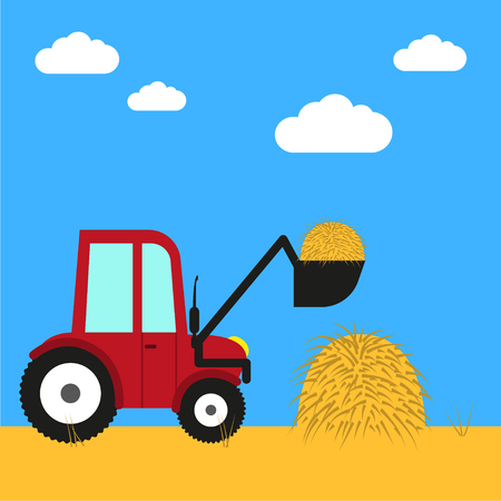 farm equipment: Farm equipment illustration Tractor removes hay from the field Flat design Illustration