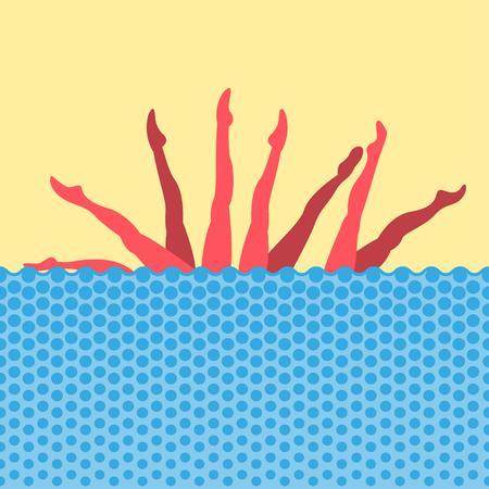Swimmers Abbildung Schwimmern Abbildung Gruppe Leistung von Synchronschwimmer Synchronschwimmen Pop-Art-Stil