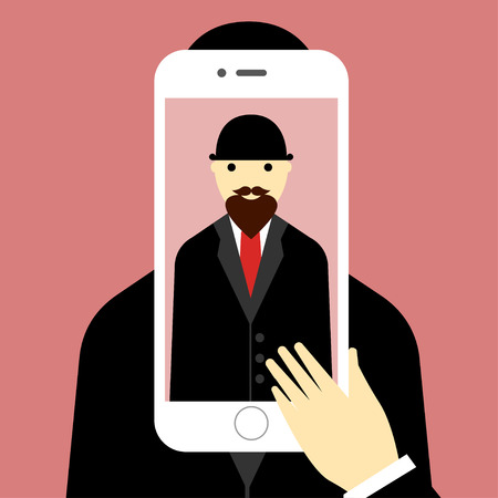 bowler hat: Selfie illustration Selfie poster with man in the bowler hat and the coat holding smartphone with self portrait picture the front of the phone Flat design