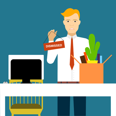 dismissal: Dismissal illustration Man puts his things in a box in the office after dismissal