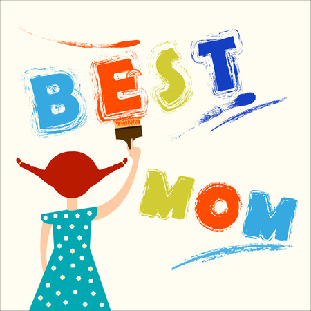 colorful dress: Best mom illustration Red-haired girl in colorful dress draws the words Best mom on the wall