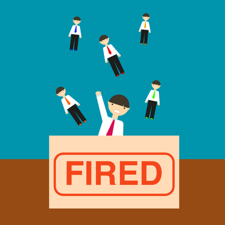 Dismissal illustration The same men in office clothes fall in a box with the inscription Fired Illustration