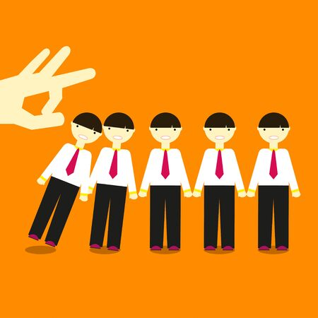 domino effect: Dismissal illustration The click of a finger knocks the same men in office clothes in Domino effect