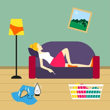 untidy: Bad housewife illustration Housewife lies on the sofa and smokes in untidy room