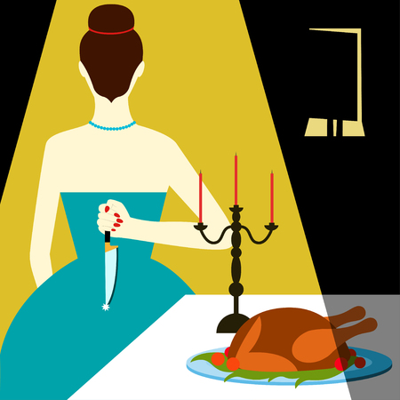 Bad housewife illustration Woman with knife behind his back meets guest at the dinner table