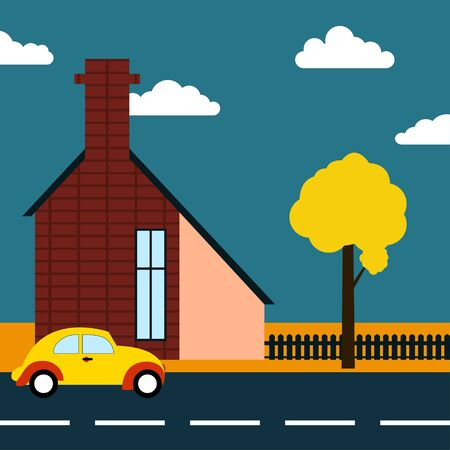 autumn road: Autumn road illustration Autumn landscape with an old european house and retro car on the road