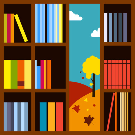 bookcase: Bookcase illustration Autumn landscape visible through the bookcase with many books