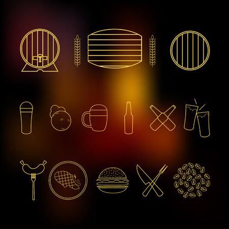 bbq barrel: Beer barrel illustration Icon set of beer and snack food on blurred background Thin line