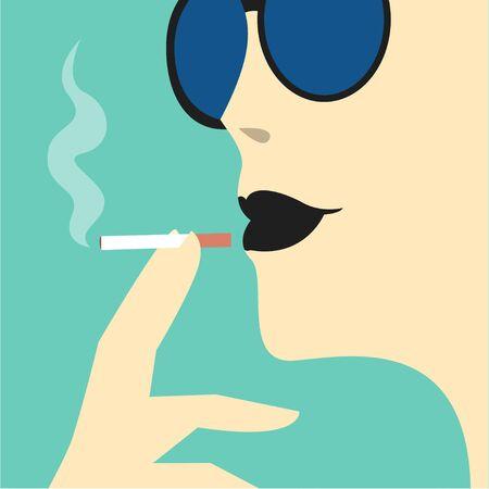 smoking woman: Fashion woman smokes illustration Young woman in sunglasses with black lipstick smokes cigarette Close-up portrait Illustration