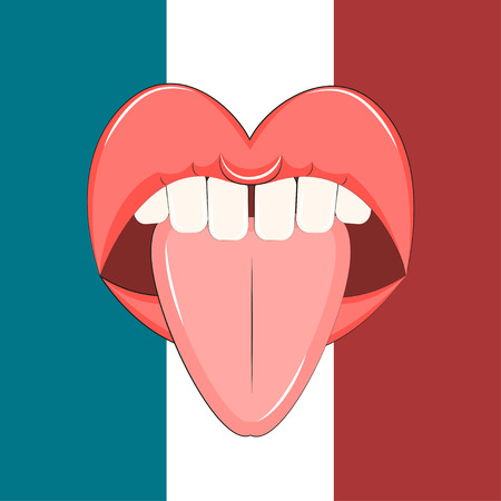 kissing mouth: French illustration Open mouth with tongue sticking out on the background of the French flag Cartoon style Illustration