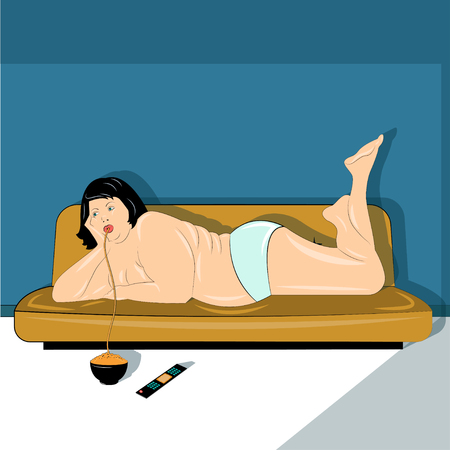 oversize: Obesity woman illustration Woman with obesity eat pasta lying on the couch Illustration