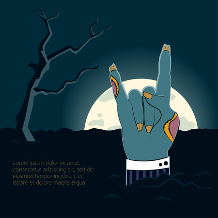 Zombie hand  illustration Zombie hand shows the gesture of rock sticking out from the ground to the moon Comics style