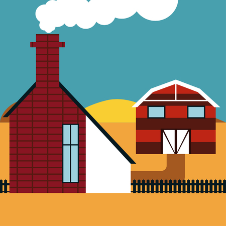 farmhouse: Farmhouse illustration Striped barn and a brick farmhouse with a chimney