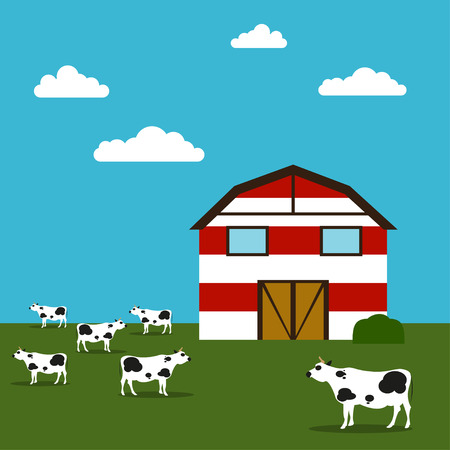 Farmhouse illustration Red-white barn in a field and grazing cows