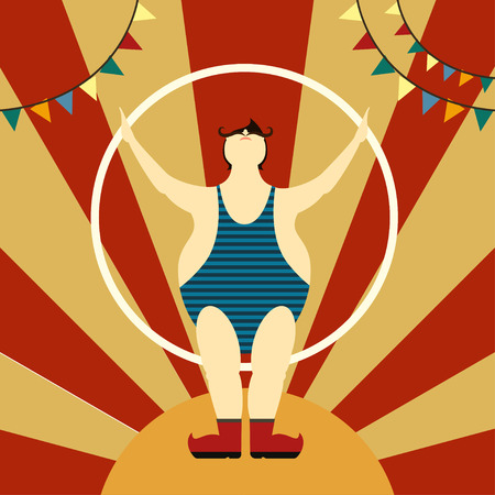 romper: Man circus illustration Man circus athlete with a long moustache in a striped romper sports spreading his arms in hand Flat design