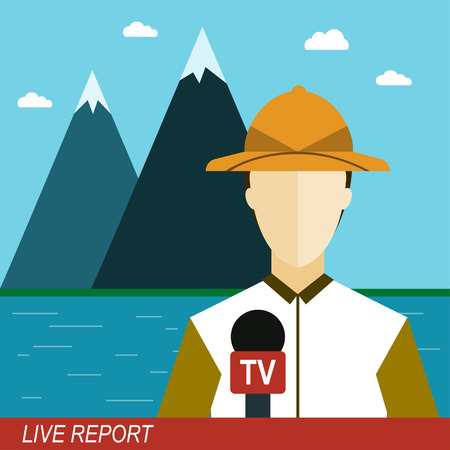 newsreader: Live report illustration News reporter man with microphone in the mountains Television broadcasting Flat design