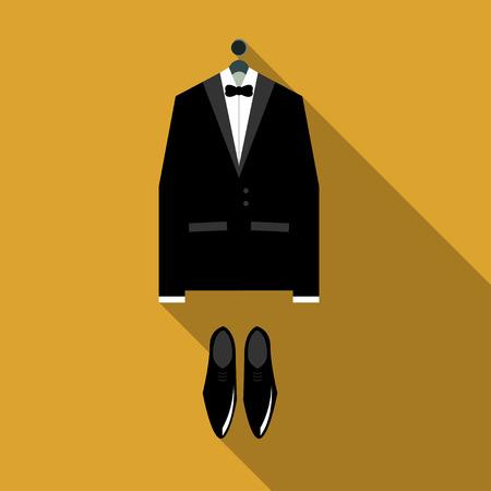 dinner jacket: Tuxedo illustration Classic tuxedo and black shoes on orange background Flat design Illustration