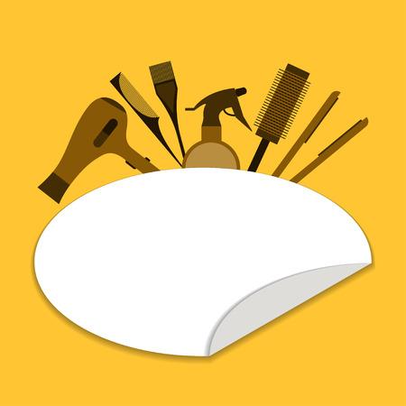 secador de pelo: herramientas salón de belleza Ilustración de la plantilla del cartel herramientas de salón de belleza: secador de pelo, plancha de pelo, spray y un peine Diseño plano Vectores