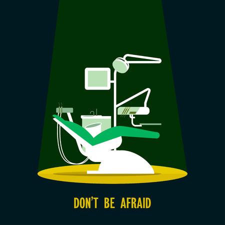 dental chair: Dental chair illustration Dental chair under the spotlight in the dark Poster template in flat design