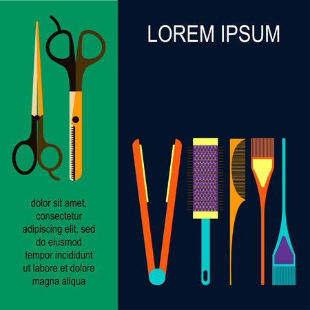 scissors hair: Beauty salon tools illustration Poster with beauty salon tools in flat design Scissors, hair straighteners, combs and hair brushes