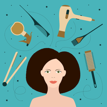 curly hair: Beauty salon tools illustration Model hairstyles with curly hair is surrounding by different beauty salon tools