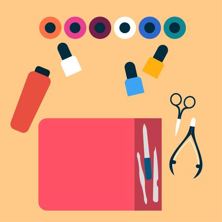 manicurist: Manicure tools illustration Manicurist desk with a set of manicure tools Top view Flat design