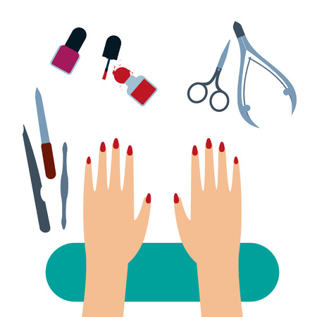 Female hands with painted nails on the manicure table with set of manicure tools Top view Flat design