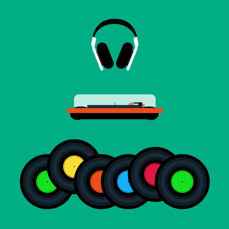 Headphones, a turntable and set of vinyl records Flat design Illustration