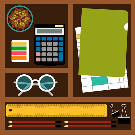bookkeeper: Bookkeeper Vector illustration Objects and tools for the accountant job: calculator, documents, stationery, glasses and plants in cells Top view
