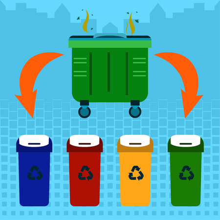 garbage container: Waste sorting Vector illustration Stinky garbage container and four containers of different colors for waste sorting and recycling Flat design Illustration