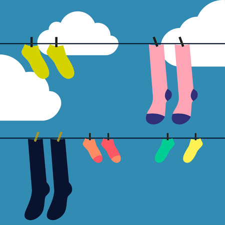 lillac: Socks drying Vector illustration Socks drying on the clothesline against blue sky with clouds Flat design