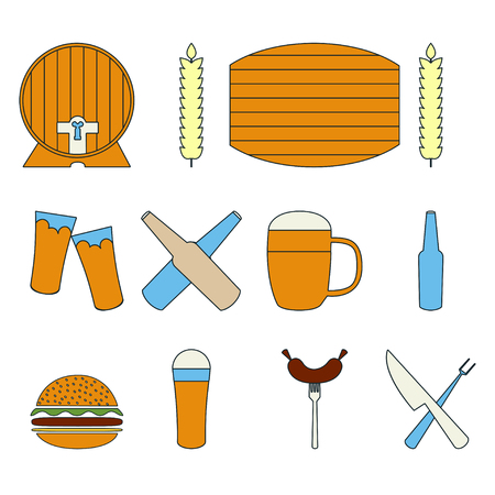 bbq barrel: Beer barrel Vector illustration Icon set of beer and snack food on white background Thin line