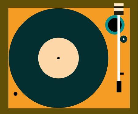 vinyl record: Vinyl record Vector illustration Retro turntable in top view Flat design Illustration