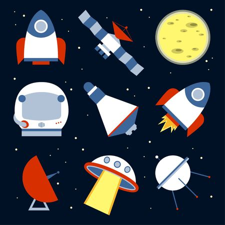 starry sky: Icons spacecraft in a flat design on the starry sky background