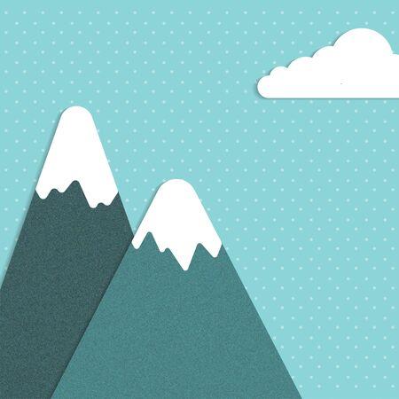 snowy hill: Snowy mountain Vector illustration