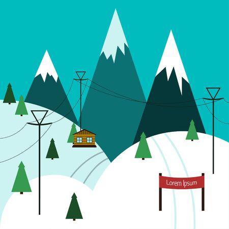 ski slope: Winter ski resort Vector illustration