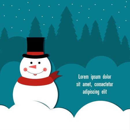 snowdrifts: Snowman in top hat Cheerful snowman in a top hat and red scarf standing among the snowdrifts Postcard template