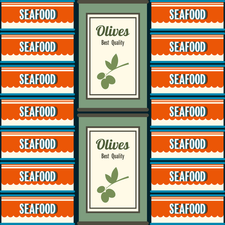 tincan: Tin Vector illustration The pattern of the two types of tin in retro style Tin cans with seafood and olives