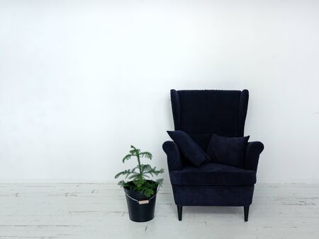 decore: Soft armchair with decorative pillows Dark blue armchair with green flower standing in white room with wooden floor