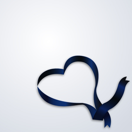 satin ribbon: Heart made of ribbon Vector illustration Blue satin ribbon in heart shape on white background Realistic style