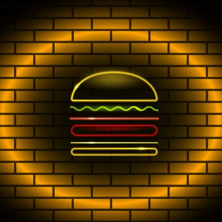 strip club: Neon figure in the form of a burger on brick wall Realistic style