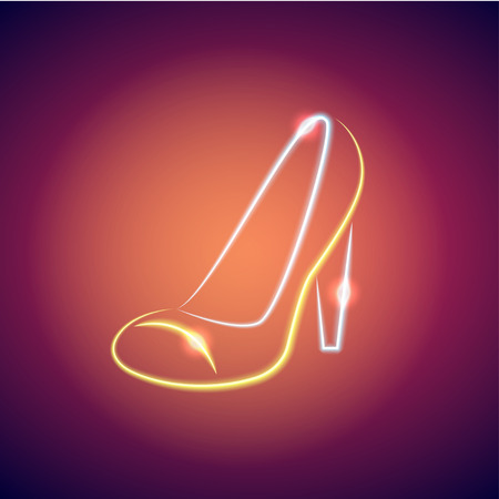 fluorescent tubes: Neon bright figure in the form of womens shoe