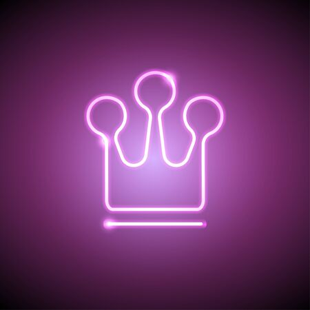 Neon bright lamp in the shape of a crown Realistic style Illustration